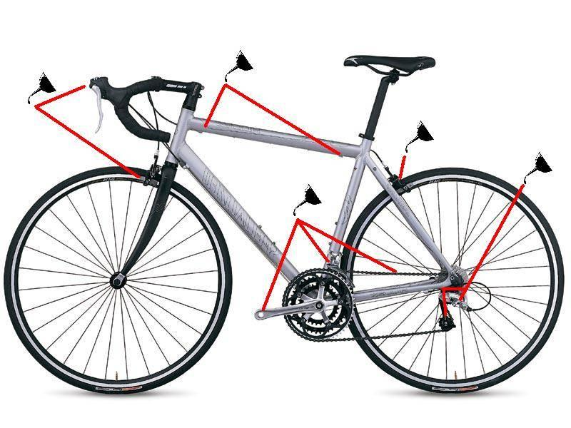 Схема профилактической смазки велосипеда